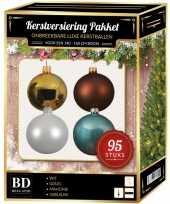 95 st kerstballen mix goud wit ijsblauw bruin voor 150 cm boom
