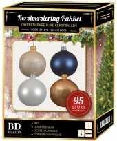 95 stuks kerstballen mix wit champagne blauw voor 150 cm boom