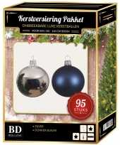 95 stuks kerstballen mix zilver donkerblauw voor 150 cm boom