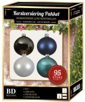 95x kerstballen mix wit ijs stone donkerblauw voor 150 cm boom