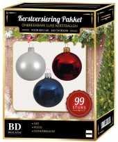 99 stuks kerstballen mix wit blauw rood voor 150 cm boom