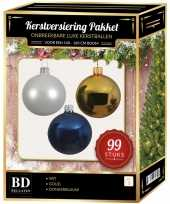 99 stuks kerstballen mix wit goud donkerblauw voor 150 cm boom