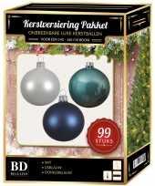 99 stuks kerstballen mix wit ijsblauw blauw voor 150 cm boom