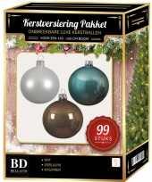 99 stuks kerstballen mix wit ijsblauw kasjmier voor 150 cm boom