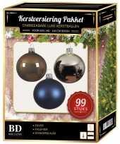 99 stuks kerstballen mix zilver blauw bruin voor 150 cm boom