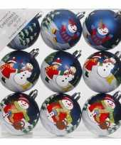 9x blauwe kerstballen 6 cm kunststof met print