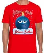 Fout kerst shirt blauwe ballen rood voor heren