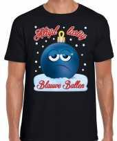 Fout kerst shirt blauwe ballen zwart voor heren