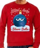 Foute kerst sweater trui blauwe ballen rood voor heren
