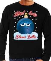 Foute kerst sweater trui blauwe ballen zwart voor heren