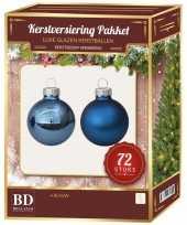 Glazen kerstballen set 72 delig blauw
