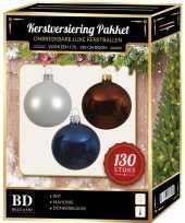 Kerstbal en piek set 130x wit bruin blauw voor 180 cm boom