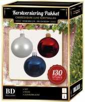 Kerstbal en piek set 130x wit donkerblauw rood voor 180 cm boom