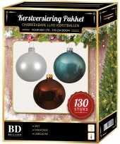 Kerstbal en piek set 130x wit mahonie blauw voor 180 cm boom