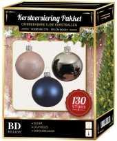 Kerstbal en piek set 130x zilver roze blauw voor 180 cm boom