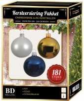 Kerstbal en piek set 181x goud wit blauw voor 210 cm boom
