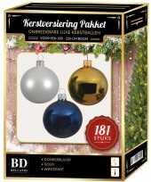 Kerstbal en piek set 181x wit goud blauw voor 210 cm boom