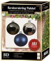 Kerstbal en piek set 181x zilver grijsblauw blauw voor 210 cm bo