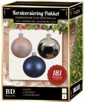 Kerstbal en piek set 181x zilver roze blauw voor 210 cm boom