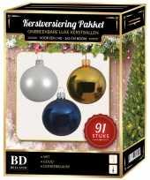Kerstbal en piek set 91x goud wit donkerblauw voor 150 cm boom