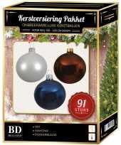 Kerstbal en piek set 91x wit bruin donkerblauw voor 150 cm boom