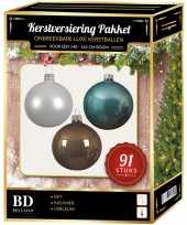 Kerstbal en piek set 91x wit bruin ijsblauw voor 150 cm boom
