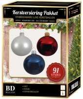 Kerstbal en piek set 91x wit donkerblauw rood voor 150 cm boom