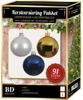 Kerstbal en piek set 91x wit goud blauw voor 150 cm boom