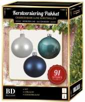 Kerstbal en piek set 91x wit ijsblauw blauw voor 150 cm boom