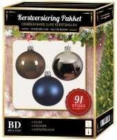Kerstbal en piek set 91x zilver bruin blauw voor 150 cm boom