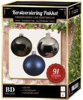 Kerstbal en piek set 91x zilver grijsblauw blauw voor 150 cm boo