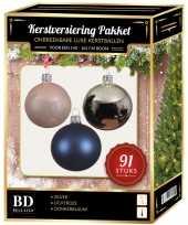Kerstbal en piek set 91x zilver lichtroze donkerblauw voor 150 c