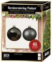 Kerstbal en ster piek set 45x grijsblauw voor 120 cm boom