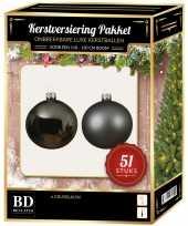 Kerstbal en ster piek set 51x grijsblauw voor 120 cm boom