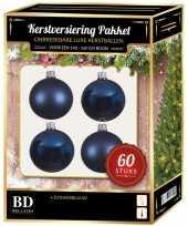 Kerstbal en ster piek set 60x donkerblauw voor 150 cm boom