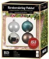 Kerstballen pakket 153 stuks met piek wit blauw bruin zilver