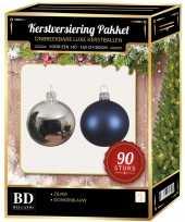 Kerstballen set kunststof 90 delig voor 150cm zilver donkerblauw