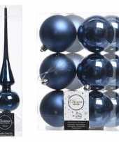 Kerstboom decoratie blauw piek en 12x kerstballen 8 cm