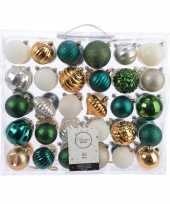 Kerstversiering kerstballen set groen goud zilver wit 60 delig